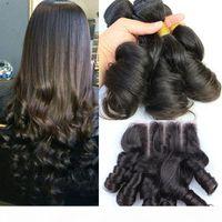 Tia Funmi Brazilian Human Hair Com 4 * 4 Lace Fechamento Romance Curls 3 Pcs Funmi Pacotes de Cabelo Humano com Fechamento 3 Way Parte 4 Pcs Lot
