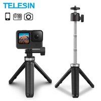TELESIN Mini Tripod Portable Aluminium Alloy Adjustable Length Selfie Stick For GoPro Hero 10 9 Action Camera iPhone 13 Pro Max G1020