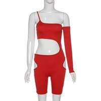 Women's cutout street tights, one-shoulder asymmetrical sleeves, beach-style jumpsuits, slanted tight tracksuit women