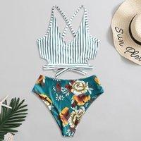Women's Swimwear 2021 Swimsuit Women High Waist Bikini Ruffle Set Push Up Bathing Suit Print Beach Wear Summer Biquini Female