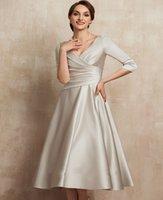 Elegant Champagne V-neck Tea-Length Mother of the Bride Dress Ruffles Satin Bridal Party Gown Customed Plus Size Vestidos