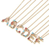 Pendant Necklaces Multicolor Charm Gold Necklace Micro Pave Zircon Initial 26 Letter Couple Name Christmas Gift