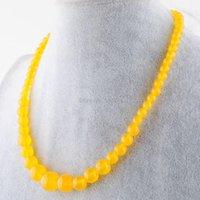 Chokers wojiier 6-14mm collar redondo collar pendiente natural amarillo blanco jades gema piedra graduada cuentas mujeres joyería strand 17.5 pbf300