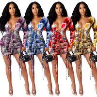 Bikinis Set Adogirl Tie Dye Print Women Dress Sexy Deep V Neck Long Sleeve Drawstring Evening Party Dresses Elegant Bodycon Shiny Mini