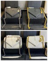 حقائب النساء حقائب النساء حقائب اليد الأسود كالفسكين الكافيار الكلاسيكية الماس مبطن حقيبة سلاسل مزدوجة رفرف متوسطة جلد طبيعي الصليب الجسم