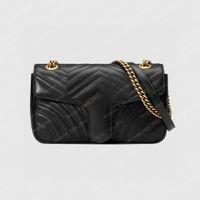 Marmont Düz Çanta Zincir Omuz Çantası Klasik Bak Versatile Crossbody Kadın Siyah Çanta Kadınlar Lüks Çanta Gerçek Deri Kırmızı Beyaz Debriyaj PM Boyutu 443497