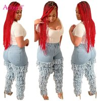 Adogirl Femmes Cascade Tassel Jeans Pantalons Bouton High Taille Fashion Casual Pantalon Pantalon Femme