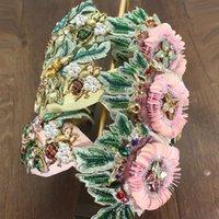 Saç Klips Barrettes Lüks Zarif Moda Aksesuarları Büyük Çiçek Sequins Yeşil Kristal BAROQUE Hairband Yay Şederi Kadınlar için Biz Biz