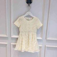 dr 2021SS Girls' dresses New twill LOGO velvet three-dimensional letter printing short sleeved princess dress