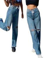 Женские разорванные джинсы, все матч с высокой талией вспыхивает брюки для отдыха на отдыхе праздник путешествия торговые джинсы