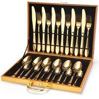 مجموعة سكين شوكة ملعقة المقاوم للصدأ أدوات المائدة مربع خشبي هدية الذهب والأمناء مجموعات