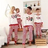 Conjuntos de ropa de Navidad de invierno otoño Striped Padre-niño Traje Christmas Calcetines Impresos Pijamas Familia Pasada de dormir