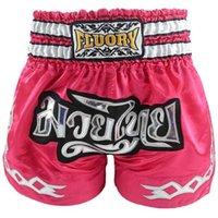 2020 و Kids (الفتيات والفتيان) بنى الملاكمة السراويل التايلاندية المطرزة التصحيح ركلة الملاكمة السراويل الأزياء اللون الوردي لمكافحة x0628