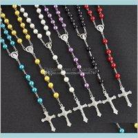Pendentifs Drop Livraison 2021 Haute Qualité Imitation Perle Pull Chaîne Christian Long Rosaire Croix Colliers Pendentif pour Femmes Mode Joathr