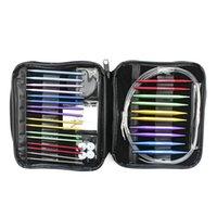 Aiguilles à tricoter circulaires interchangeables en aluminium définies pour des motifs de crochet et designements de couse de fils
