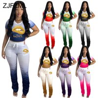 Sexy Plus Size 2 Piece Set Women's Tracksuit Gradient Mouth Lip Print Crop Top and Stacked Jogger Pant Lounge Wear Matching