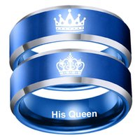 Cluster Rings Fashion King Queen Ring Her His Titanium Steel Blue Couple Crown Valentine Birthday Gift Men Women Jewelry