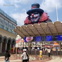 Circus Decorative Giant Inflatable Clown Head 5m Height Black Air Blown Demon Skull For Concert Stage And Outdoor Halloween Decoration