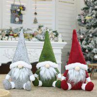 Merry Christmas Swedish Santa Gnome Plush Doll Ornaments Handmade Holiday Home Party Decor Christmas Decorations DHL
