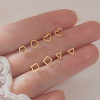 Genuine 925 Sterling Silver Gold Plated Circle Round Stud Earrings Cute Geometry Heart Square Triangle Forever Love Jewelry Exquisite GIFT Women Girls Bijoux