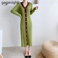 Повседневные платья Gaganight вязаные элегантные женщины BodyCon платье с длинным рукавом одиночная грудящая леди Корейский растягивающие вестоси