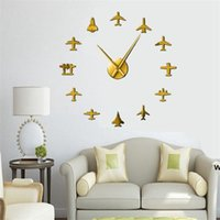 Fliegende Flugzeug Fighter Jet Moderne Große Wanduhr DIY Acryl Spiegel Effekt Aufkleber Flugzeug Silent Wanduhr Aviator Home Decor DHD6606