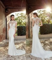 Gorgeous Eddy K New Couture 2022 Mermaid Wedding Dresses Country Garden Style High Neck Sheer Appliques Button Covered Back Boho Bridal Gown