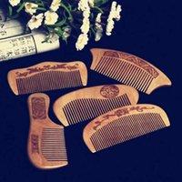 1 pc pêssego natural pente de madeira fechar dentes anti-estáticos massagem cabeça cuidado cabelo ferramentas de madeira acessórios de beleza escovas