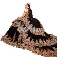 2022 Vintage Black Gold Applique Quinceanera Dresses Off The Shoulder Ball Gowns Plus Size Sweet 16 Dress Long Train