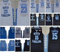 Jersey do basquetebol 5 Nassir pequeno Carter 32 Luke Maye Maye North Carolina Tar Heels Michael College Barnes Vince UNC Blue Black Jerseys Shorts Camisa