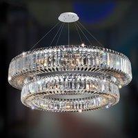 Contemporary LED Round Chandelier Lighting Modern Crystal Bedroom Lamp Art Deco Chrome Living Room Light Fixture