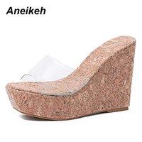 Aneikeh Seksi Yaz Kadın Temizle Şeffaf Platformu Takozlar Sandalet Ultra Yüksek Topuklu Ormanlık Katır Silde Ayakkabı Açık Creepers 210619