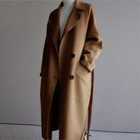 Manteau d'hiver femmes larges revers ceinture de poche mélange de laine de poche surdimensionnée de la tranchée longue de la tranchée de sortie S-XL