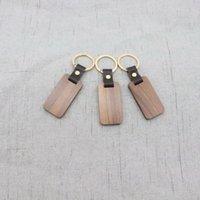 Chaveiro de madeira do comércio exterior personalizado pode ser impresso o pendente do anel da fivela de couro quadrado