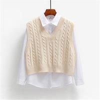 2021 Womens Elegant 1PCS Student V-neck Pullover Casual Knitting Tops Outerwear Autumn Women Sweater Vest Korean Fashion