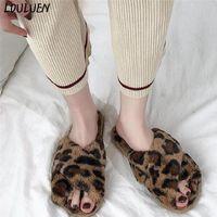 슬리퍼 레오파드 여성 겨울 따뜻한 신발 봉제 부드러운 실내 안티 슬립 바닥 침실 패션 미끄럼 방지 2021
