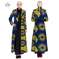 2020 아프리카 패션 가을 플러스 사이즈 여성 트렌치 코트 전통 아프리카 왁스 프린트 의류 Dashiki 캐주얼 Outwear WY901