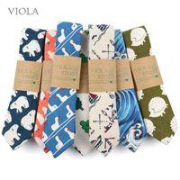 Ties Cute Linen Cartoon Duck Cat Bear Tree 6cm Printed Funny Animal Tie for Men Narrow Striped Slim Necktie Gifts Cravat Accessories