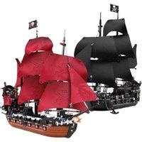 Карибские пиратские корабли строительные блоки черные жемчужные кирпичи Установите королеву Анн Месть корабль модели Детские игрушки дети подарки