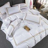 Weiße Baumwolle Luxus EL / Home Bettwäsche Set King Queen-Size-Bett Set Bettwäsche Bettwäsche Set Stickerei Duvet Cover Kissenbezug #sw T200517