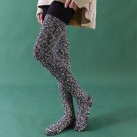 Sports Socken Winter Halten Sie sich warm lang für Frauen Damen eng schlank Thermal über Knie Hohe Socke Design Strumpf