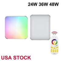 48W RGB Close to LED Ceiling Light Lamp by Remote Control, 4320LM Dimmable Square Flush Mount Recessed Lighting Memory Function, Fixture for Home Office Hotel