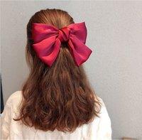 Большой лук волосы волосы девочка темперамент net рыжие волосы булавки пружинные зажима headdressred на задней части головки hiqh аксессуары инструменты качества 7 цветов