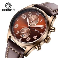 OCHSTIN Mens Sport Wrist Watches Top Brand Luxury Waterproof For Male Quartz Watch Clock Leather Chronograph relogio masculino Q0310