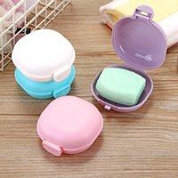Caja de jabón de viaje de plástico Sencillez Caja de almacenamiento de color de caramelo Portátiles platos de jabones portátiles con tapa 5 colores