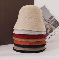 Wide Brim Hats Winter Warm Wool Women Casual Fisherman Cap Panama Hat Bucket Sun