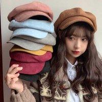 Hats, Scarves & Gloves Sets Hat Female Autumn And Winter Octagonal Ins Net Red Same Versatile Beret Japanese British Retro Artist