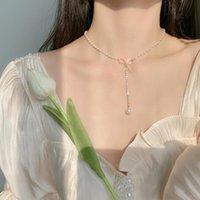 Pendant Necklaces Fashion Elegant Women Long Pearl Necklace Clavicle Choker Metal Bow Decoration Casual Engagement Wedding