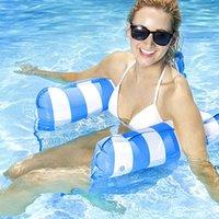 Piscina Letto galleggiante Letto fluttuazioni fila pieghevole schienale a doppio scopo con amaca a maglia, intrattenimento e divertimento DHD7438