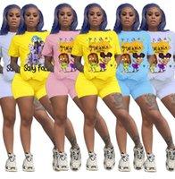 Designer T-shirt da donna 2 pezzi Set 2021 Tracksuits Stampa di alta qualità Trackusit Cartoon Moda Casual Suita Plus Size 2XL Abbigliamento donna